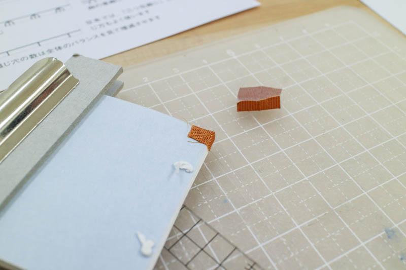 和綴じ豆本:角布を貼る