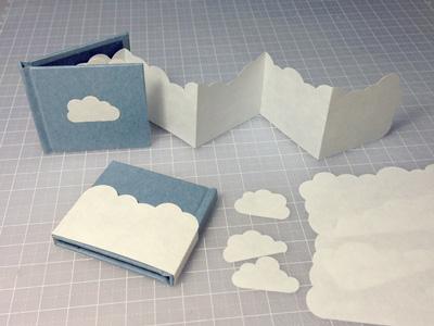 豆本ワークショップ「ちいさな雲の豆本づくり」 見本